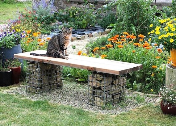 Gabion Bench Seat for Best Outdoor Decoration Ideas